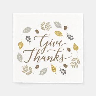 Fall Foliage Give Thanks Thanksgiving Napkins Disposable Serviette