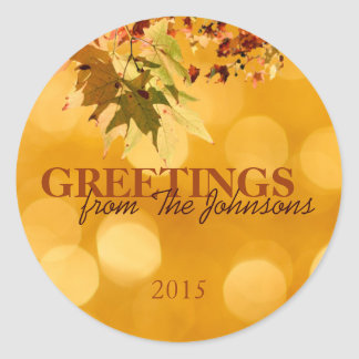 Fall Foliage Greetings Autumn Leaves Round Sticker