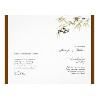 Fall Foliage in Brown and Gold Wedding Program Flyer Design
