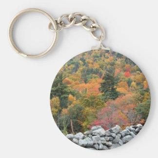 Fall Foliage Rock Wall Nature Photography Keychain