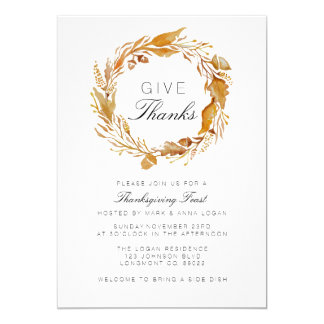 Fall Foliage Watercolor Thanksgiving Invite