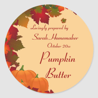 Fall Foliage with Pumpkins Round Canning Round Sticker