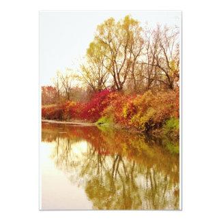 Fall Forest River Scene 13 Cm X 18 Cm Invitation Card
