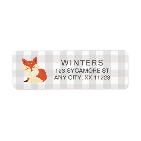 Fall Fox Gingham baby shower postage stamp