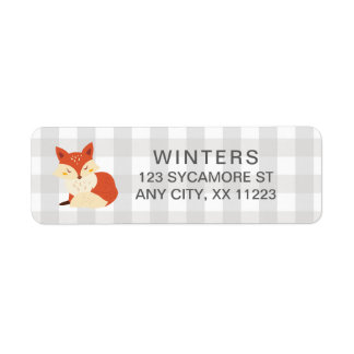 Fall Fox Gingham baby shower postage stamp Return Address Label