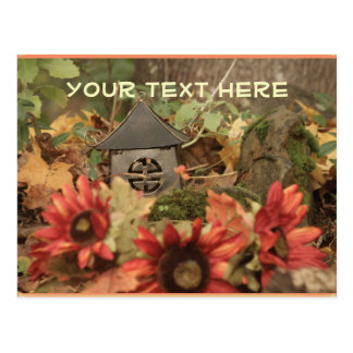 Fall Garden Flowers and Pagoda Postcard