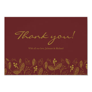 "Fall garden | Modern Foliage Wedding ""thank you"" 9 Cm X 13 Cm Invitation Card"