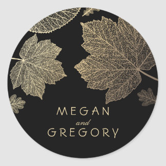 Fall Gold and Black Leaves Wedding Classic Round Sticker