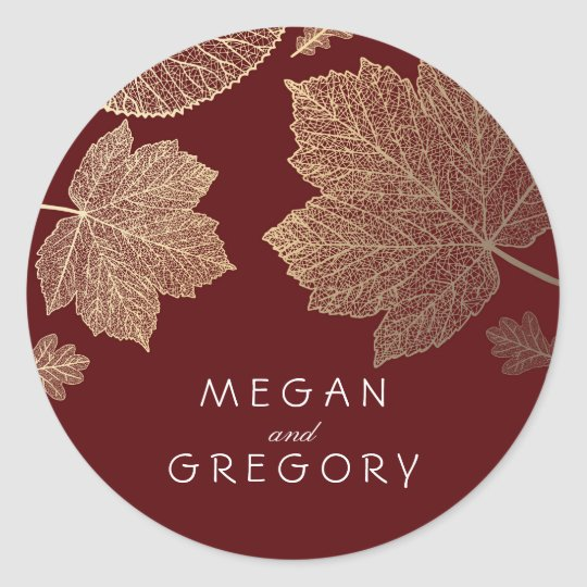 Fall Gold and Burgundy Leaves Wedding Classic Round