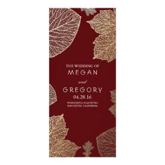 Fall Gold and Burgundy Leaves Wedding Programs Custom Rack Card