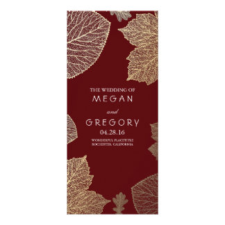 Fall Gold and Burgundy Leaves Wedding Programs Rack Card