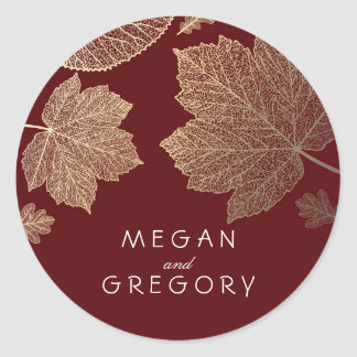 Fall Gold and Burgundy Leaves Wedding Round Sticker
