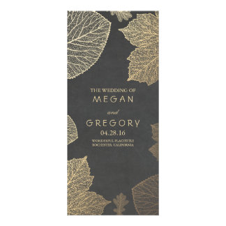 Fall Gold and Chalkboard Leaves Wedding Programs Personalised Rack Card