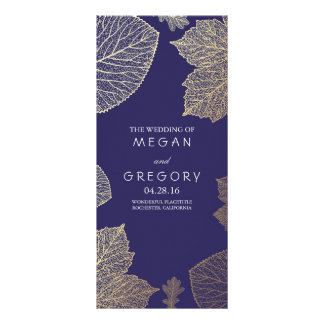 Fall Gold and Navy Leaves Wedding Programs Rack Card