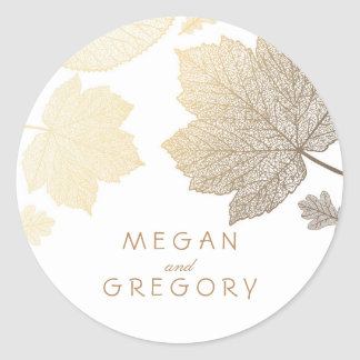 Fall Gold and White Leaves Wedding Classic Round Sticker