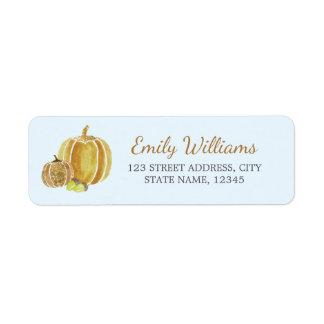 Fall Gold Blue Pumpkin Label