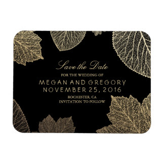 Fall Gold Leaves Black Save the Date Rectangular Photo Magnet