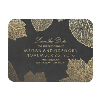 Fall Gold Leaves Chalkboard Save the Date Magnet