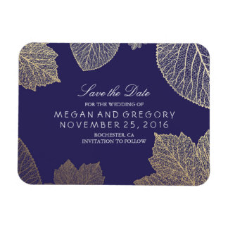 Fall Gold Leaves Navy Save the Date Magnet