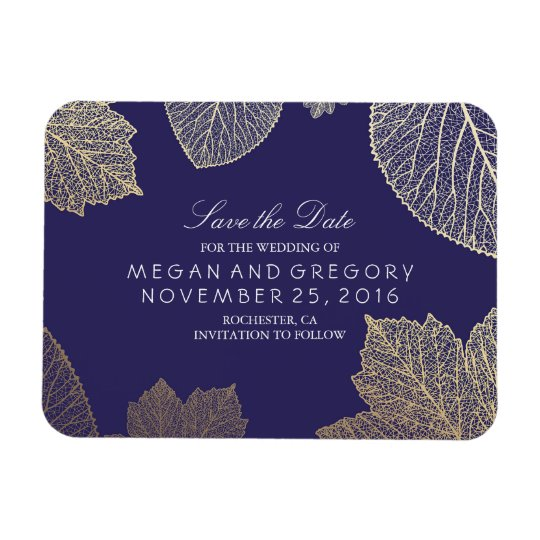 Fall Gold Leaves Navy Save the Date Rectangular