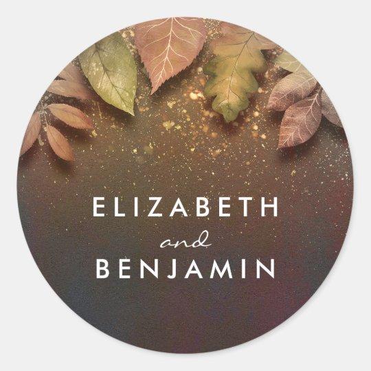 Fall Gold Leaves Vintage Wedding Round Sticker