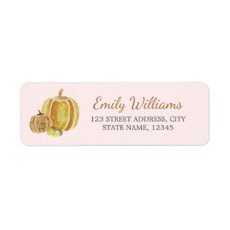 Fall Gold Pink Pumpkin Label