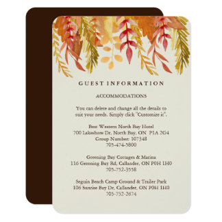 Fall Guest Information Cards 9 Cm X 13 Cm Invitation Card