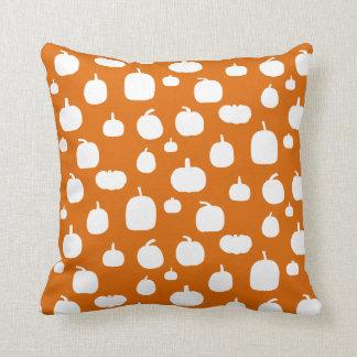 Fall Halloween White Pumpkin Pattern Cushion