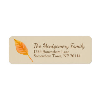 Fall Harvest Orange Leaf Family Return Address Label