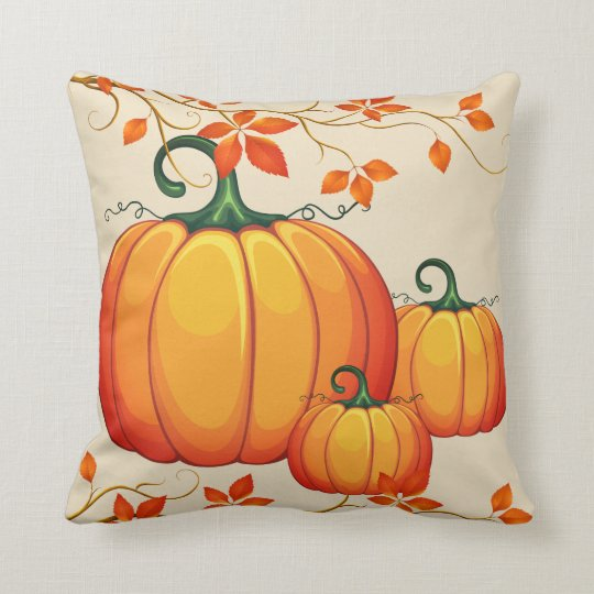 Fall Harvest Pumpkin Throw Pillow
