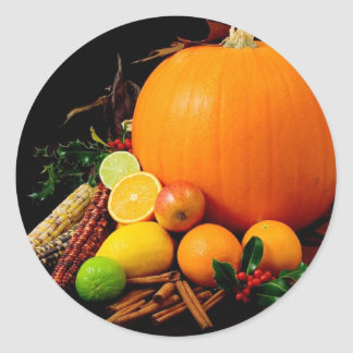 Fall Harvest Pumpkins and Maize Corn Classic Round Sticker