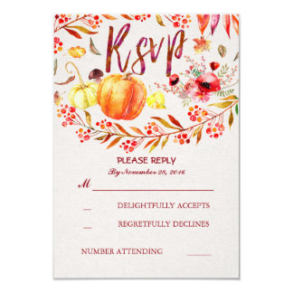 Fall Harvest Pumpkins Rustic Wedding Rsvp 9 Cm X 13 Cm Invitation Card