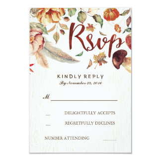 Fall Harvest Rustic Wedding Rsvp 9 Cm X 13 Cm Invitation Card
