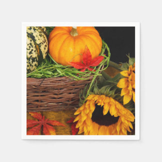 Fall Harvest Sunflowers Disposable Napkin