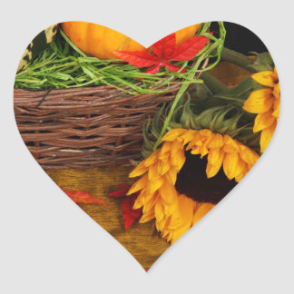 Fall Harvest Sunflowers Heart Sticker