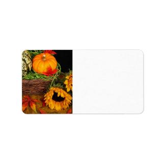 Fall Harvest Sunflowers Label