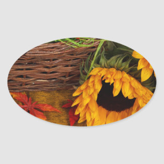 Fall Harvest Sunflowers Oval Sticker