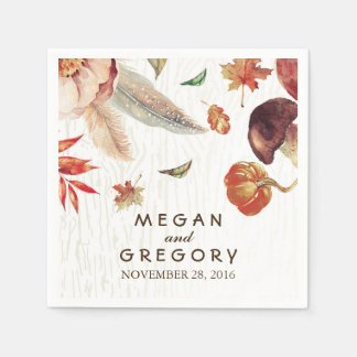 Fall Harvest Watercolor Pumpkin Wedding Paper Napkin
