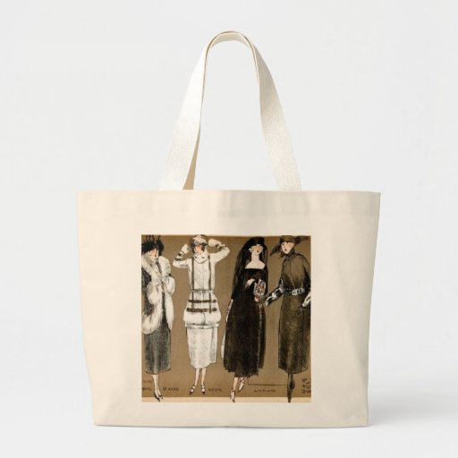 Fall Haute Couture 1920s Illustration Tote Bags