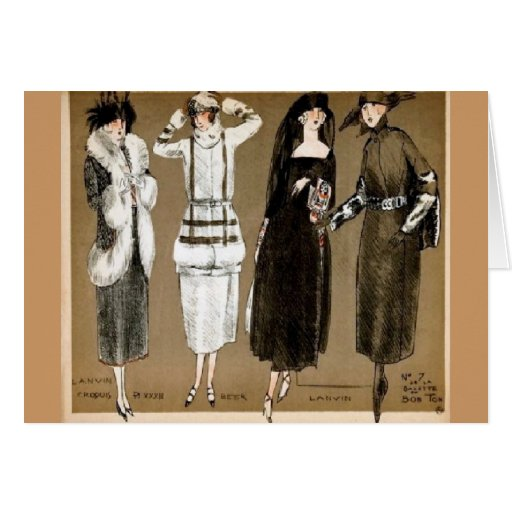 Fall Haute Couture 1920s illustration Card