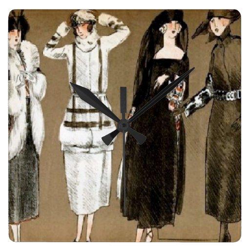 Fall Haute Couture 1920s Illustration Square Wallclock