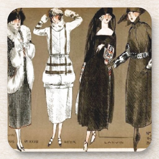 Fall Haute Couture 1920s Illustration Beverage Coaster