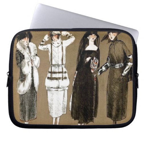 Fall Haute Couture 1920s Illustration Laptop Computer Sleeves