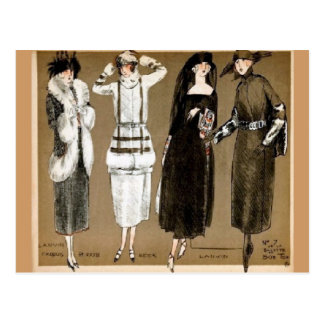 Fall Haute Couture 1920s illustration Postcard