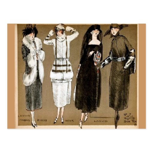 Fall Haute Couture 1920s illustration Post Card