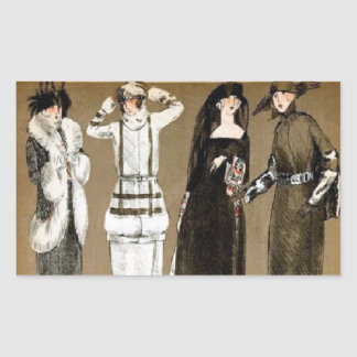Fall Haute Couture 1920s illustration Rectangular Sticker