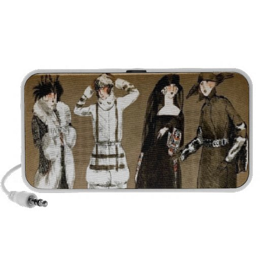 Fall Haute Couture 1920s Illustration Travelling Speakers