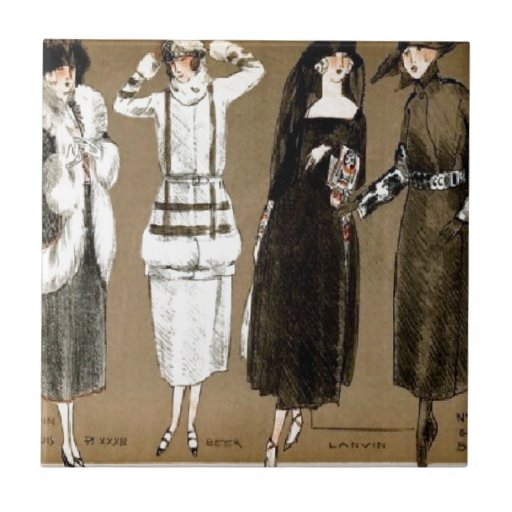 Fall Haute Couture 1920s Illustration Tile