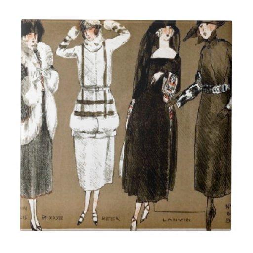 Fall Haute Couture 1920s Illustration Tile