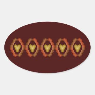 Fall Hearts Oval Sticker